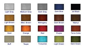 Color Chart of twenty colored concrete sealers